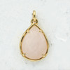 Rose Quartz Teardrop Briolette Pendant Charm - Gold - Faceted - Semiprecious Semi Precious Wildflower Co