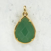 Green Aventurine Teardrop Briolette Pendant Charm - Gold - Faceted - Semiprecious Semi Precious Wildflower Co