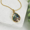Abalone Shell Teardrop Briolette Pendant Charm - Gold - Faceted - Wildflower Co