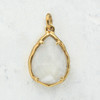 Mother of Pearl Shell Teardrop Briolette Pendant Charm - Gold - Faceted - Wildflower Co