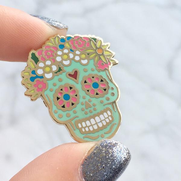 JW00348 Sugar Skull Enamel Pin - Flair - Lapel - Wildflower Co -  (2)