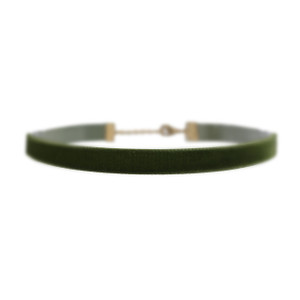 Velvet Choker Necklace, Olive
