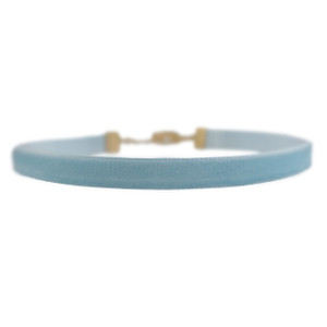 Velvet Choker Necklace - Pastel Baby Blue & Gold - Wildflower + Co (3)