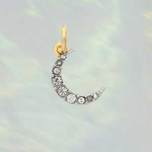Pave Crescent Moon Charm - Pendant - Dainty Gold - Tiny - Delicate - Wildflower + Co. 2