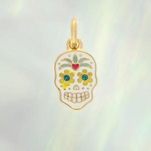 Sugar Skull Charm - Dainty, Enamel & Gold