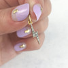 Pave Lightning Bolt Charm - Pendant - Dainty Gold - Tiny - Delicate - Wildflower + Co. - Hand