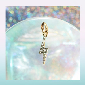 Pave Lightning Bolt Charm - Pendant - Dainty Gold - Tiny - Delicate - Wildflower + Co.