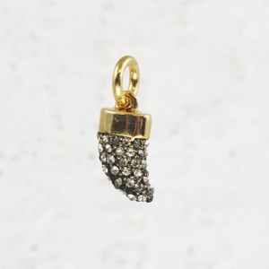 Pave Horn Charm - Pendant - Dainty Gold - Tiny - Delicate - Edgy - Wildflower + Co.