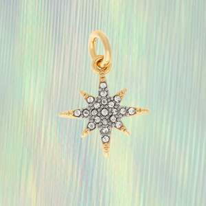 North Star Charm, Pave Crystal & Gold
