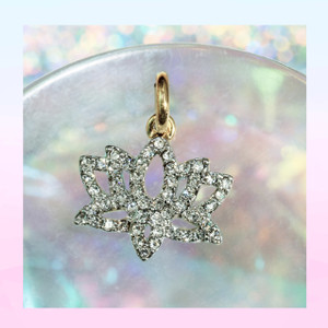 Pave Lotus Charm - Pendant - Dainty Gold - Tiny - Delicate - Yoga - Wildflower + Co.