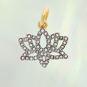 Lotus Charm, Pave Crystal & Gold