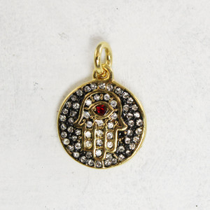 Hamsa Medallion Charm Pendant Micro Pave Gold Dainty - Wildflower Co.