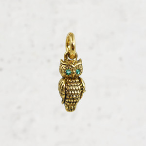 Owl Charm 1 - Pendant - Dainty Gold - Good Luck Charm - Graduate -Tiny - Delicate - Wildflower + Co.