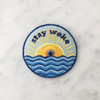 TR00139MLTOS Stay Woke Patch - Iron On Patches - Political - Blue - Sun Rising Waves - Wildflower + Co. - Jacket