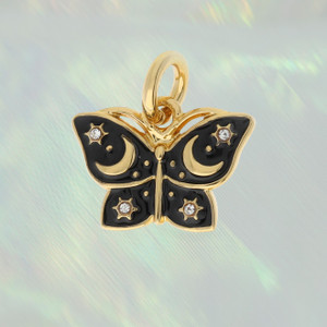 JW00404-GLD-OS-R - Night Butterfly Charm Pendant - Gold - Packaged - Wildflower Co