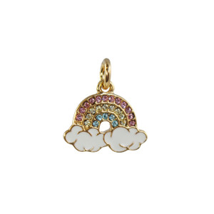 Rainbow Charm Pendant - Gold & Pave Crystals - Packaged - Wildflower Co (1)