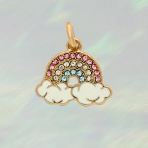JW00878-GLD-OS - Rainbow Charm - Bright Pave & Gold - Charm, Charms, Pendant, Pendants, DIY, Jewelry Making, Jewelry Supplies, Jewelry Making Supplies, Necklace Charm, Bracelet Charm, Charm for Necklace, Charm for Bracelet, Gold Charm, Pave, Pave Crystal, Rhinestone, Rainbow, Enamel, Positivity, Cute Charms, VSCO - bc cROP