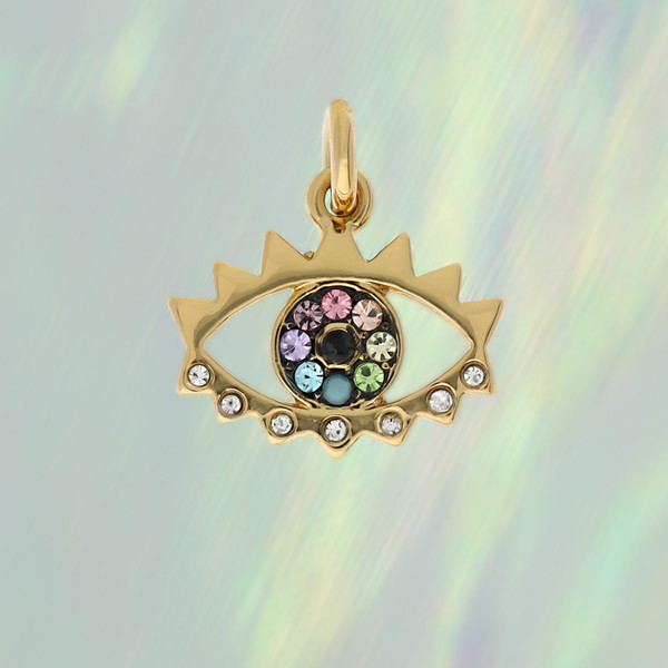 JW00412-GLD-OS-R - Evil Eye Charm Pendant - Gold & Rainbow Pave Crystals - Packaged - Wildflower Co