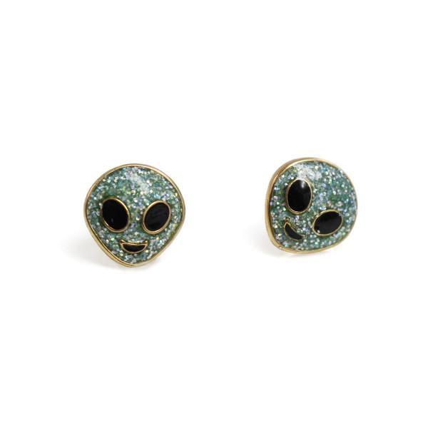 Alien Stud Earrings | Mint Glitter | Wildflower + Co.