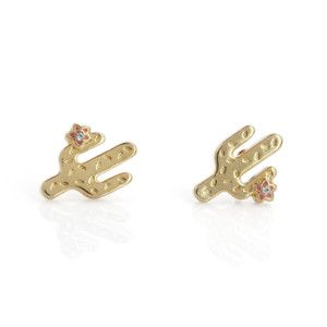 Cactus Stud Earrings | Tiny Gold | Wildflower + Co. Jewelry
