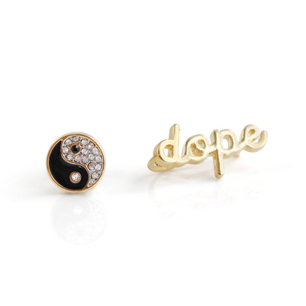 Dope & Yin Yang Stud & Climber Earrings | Gold | Wildflower + Co.