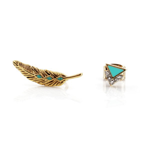 Feather Asymetrical Earring Set   Gold & Turquoise   Wildflower + Co.