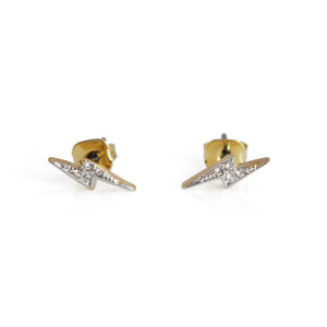 Lightning Bolt Stud Earrings | Tiny Gold Pave | Wildflower + Co.