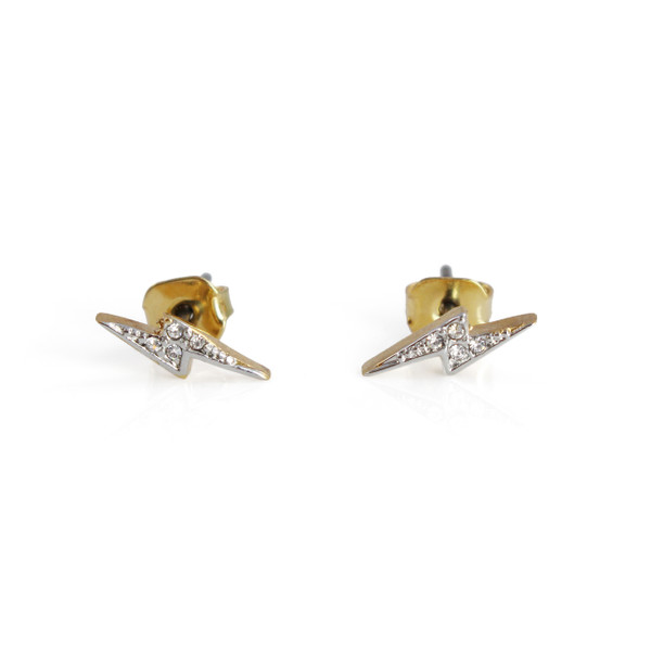 Lightning Bolt Stud Earrings   Tiny Gold Pave   Wildflower + Co.