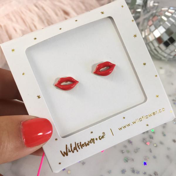 Lip - Kiss Stud Earrings - Red Glossy Enamel & Gold - Packaged - Wildflower + Co.