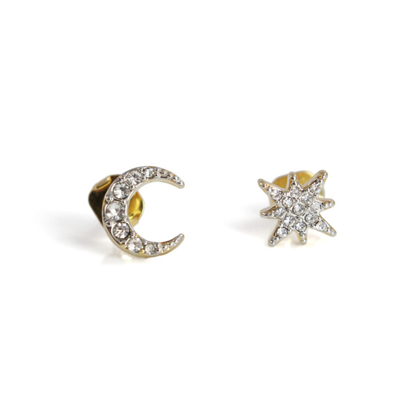 Moon & Star Stud Earrings | Dainty Pave Gold | Wildflower + Co.