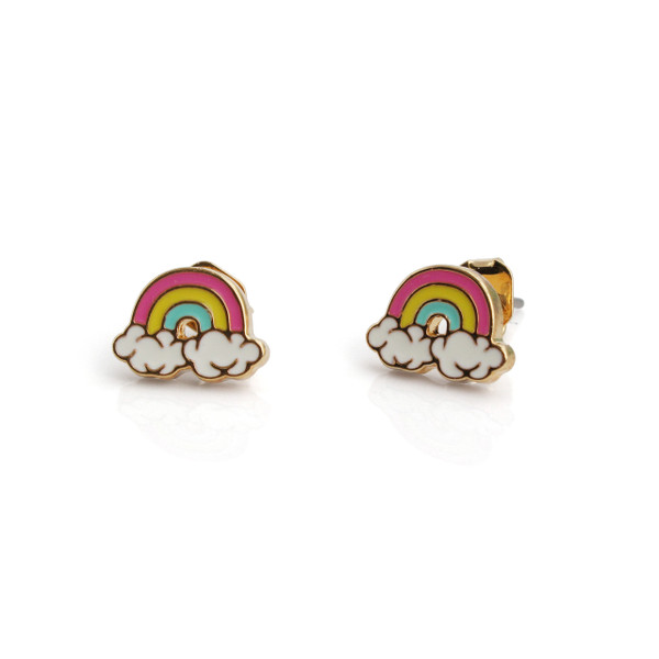 Rainbow Stud Earrings | Colorful & Gold | Wildflower + Co.