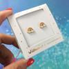 Rainbow Stud Earrings  - Tiny Dainty Gold Enamel- Packaged - Wildflower Co (2) - use