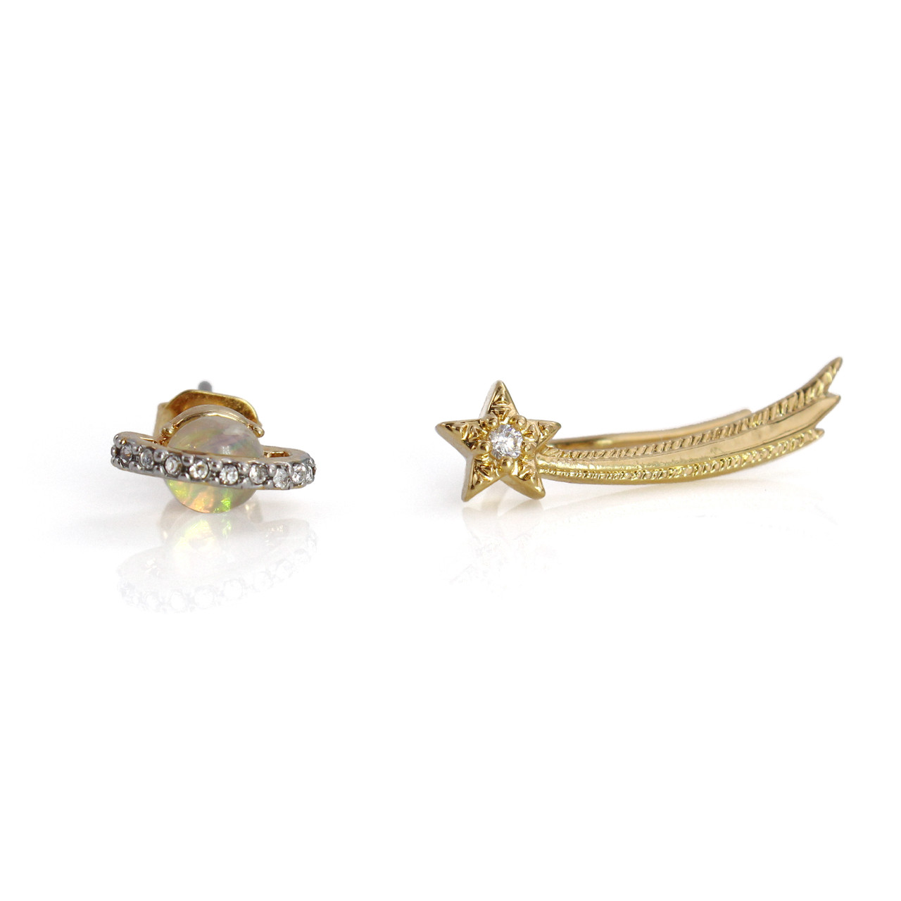 bfd45f2909f0c Planet & Shooting Star Asymetrical Earrings, Gold