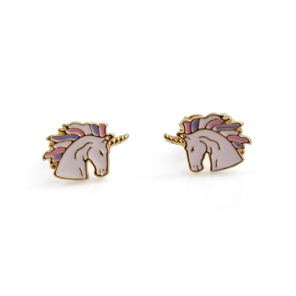Unicorn Stud Earrings | Pink & Gold | Wildflower + Co.