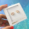 Unicorn Stud Earrings  - Tiny Dainty Gold Pink - Packaged - Wildflower Co (1)