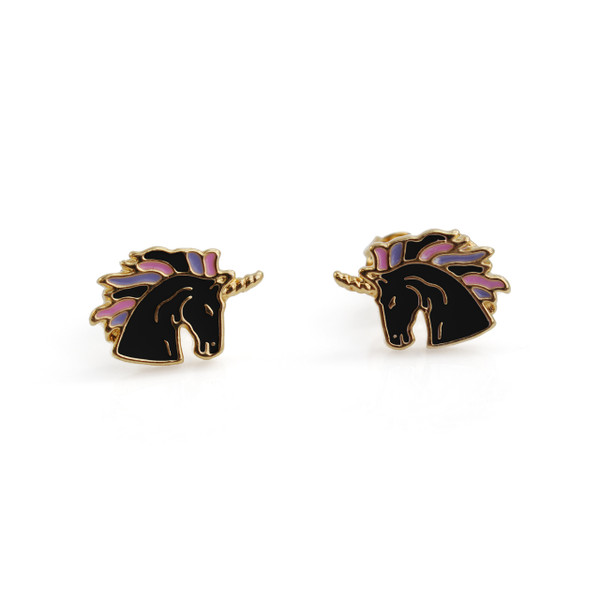 Unicorn Stud Earrings | Black & Gold | Wildflower + Co.