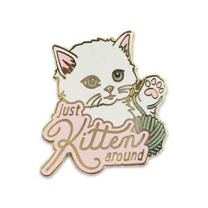 Just Kitten Around Pin |Fluffy White Cat | Wildflower + Co.