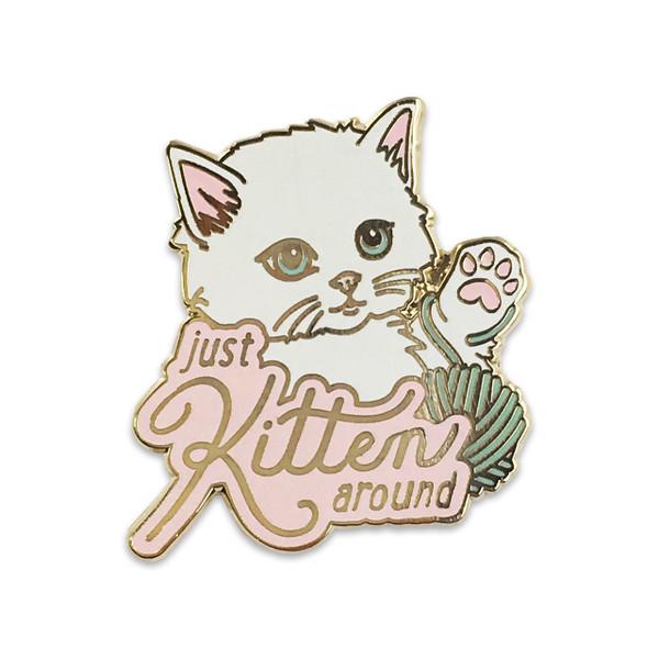 Just Kitten Around Pin |Fluffy White Cat | Wildflower + Co.