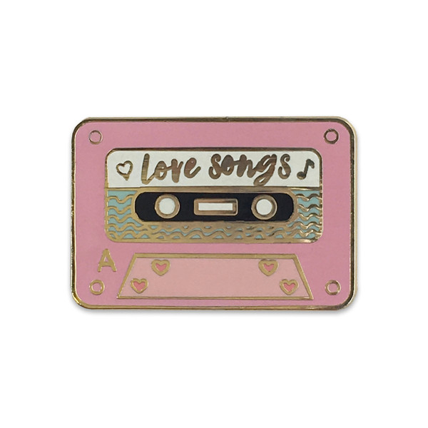 Love Songs Mix Tape Pin | Pastel Pink Enamel |  Wildflower + Co.