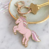 Pink Unicorn Glitter Keychain Key Fob Bag Charm Enamel Flair - Wildflower Co - denim