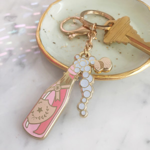 Rose Champagne Keychain Key Fob Bag Charm Enamel Flair - Denim