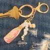 Rose Champagnel Keychain Key Fob Bag Charm Enamel Flair - Denim