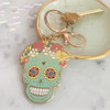 Sugar Skull Keychain Key Fob Bag Charm Enamel Flair - Day of the Dead - Dia de los Muertos - Wildflower Co (1)