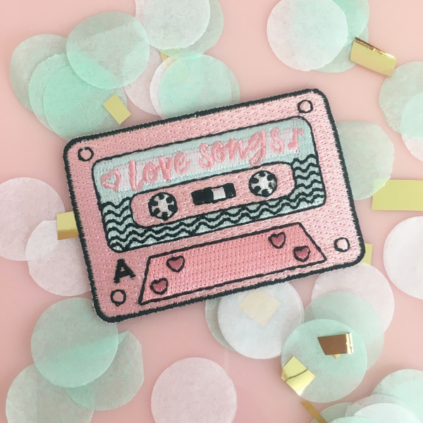 Love Songs Mix Tape Patch - Iron On Patches - Appliques - Cassette Tape - 80s 90s - Wildflower Co. (2)