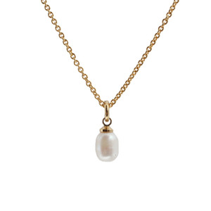 Pearl Necklace, White Pearl & Gold - Dainty, Minimal, Simple, Classic - Freshwater Pearl - Wildflower + Co. Jewelry