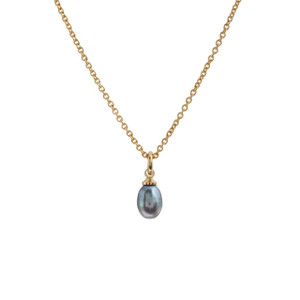 Pearl Necklace, Grey Pearl & Gold Wildflower + Co. Jewelry - Simple Pearl Necklace Classic