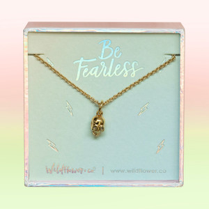 Dainty Gold Skull Necklace - Wildflower Co. Jewelry