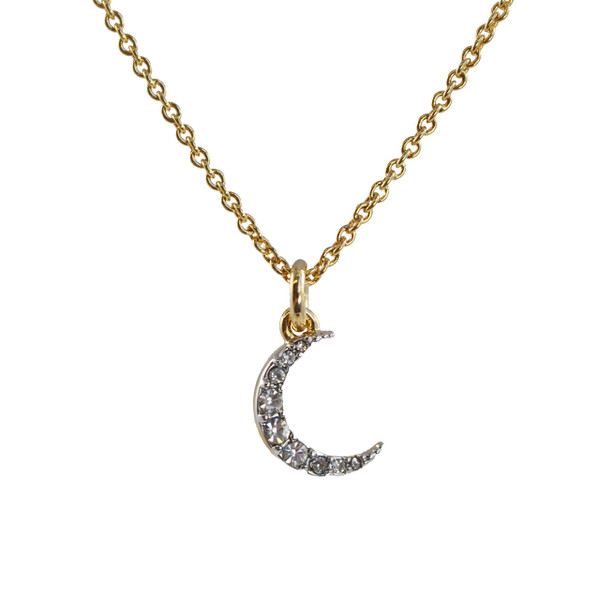 Dainty Gold Moon Necklace - Crescent Moon Necklace, Pave Crystal & Gold - Celestial - Tiny, Simple, Minimal, Delicate - Wildflower + Co.