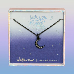 Crescent Moon Necklace, Pave Crystal & Hematite