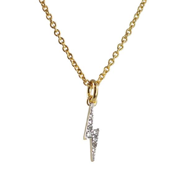 Dainty Gold Lightning Bolt Necklace - Lightning Bolt Necklace, Pave Crystal & Gold - Wildflower + Co.